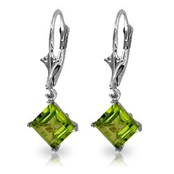 ALARRI 3.2 CTW 14K Solid White Gold Spring Abounds Peridot Earrings
