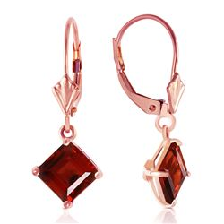 ALARRI 3.2 Carat 14K Solid Rose Gold Garnet Simplicity Earrings