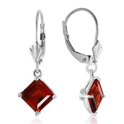 ALARRI 3.2 Carat 14K Solid White Gold Smile From The Heart Garnet Earrings