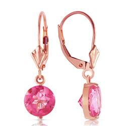 ALARRI 3.1 Carat 14K Solid Rose Gold Youth Pink Topaz Earrings