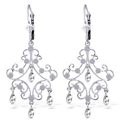 ALARRI 14K Solid White Gold Chandelier Earrings