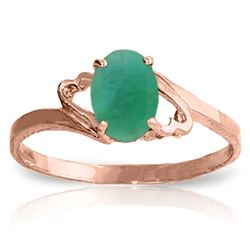 ALARRI 0.75 Carat 14K Solid Rose Gold Rings Natural Emerald