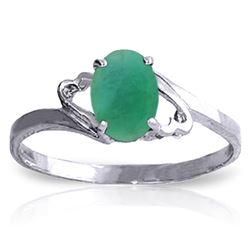 ALARRI 0.75 Carat 14K Solid White Gold Rings Natural Emerald