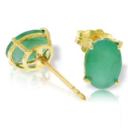 ALARRI 1.8 Carat 14K Solid Gold Stud Earrings Natural Emerald