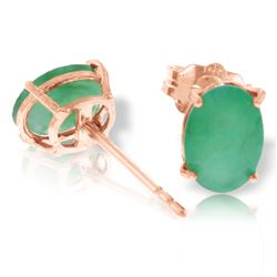 ALARRI 1.8 Carat 14K Solid Rose Gold Stud Earrings Natural Emerald