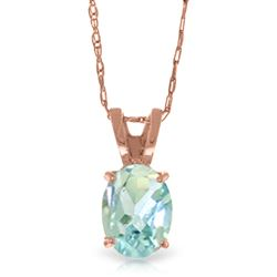 ALARRI 0.75 CTW 14K Solid Rose Gold Solitaire Aquamarine Necklace