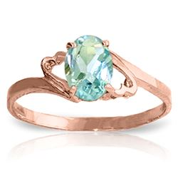ALARRI 0.75 Carat 14K Solid Rose Gold Rings Natural Aquamarine