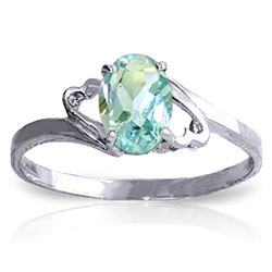 ALARRI 0.75 CTW 14K Solid White Gold Rings Natural Aquamarine