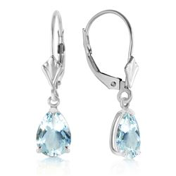 ALARRI 2.85 Carat 14K Solid White Gold Applying Your Hand Aquamarine Earrings