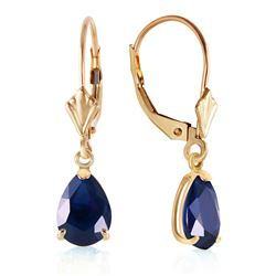 ALARRI 3 Carat 14K Solid Gold Leverback Earrings Sapphire