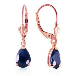 ALARRI 3 Carat 14K Solid Rose Gold Leverback Earrings Sapphire