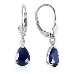 ALARRI 3 Carat 14K Solid White Gold Leverback Earrings Sapphire