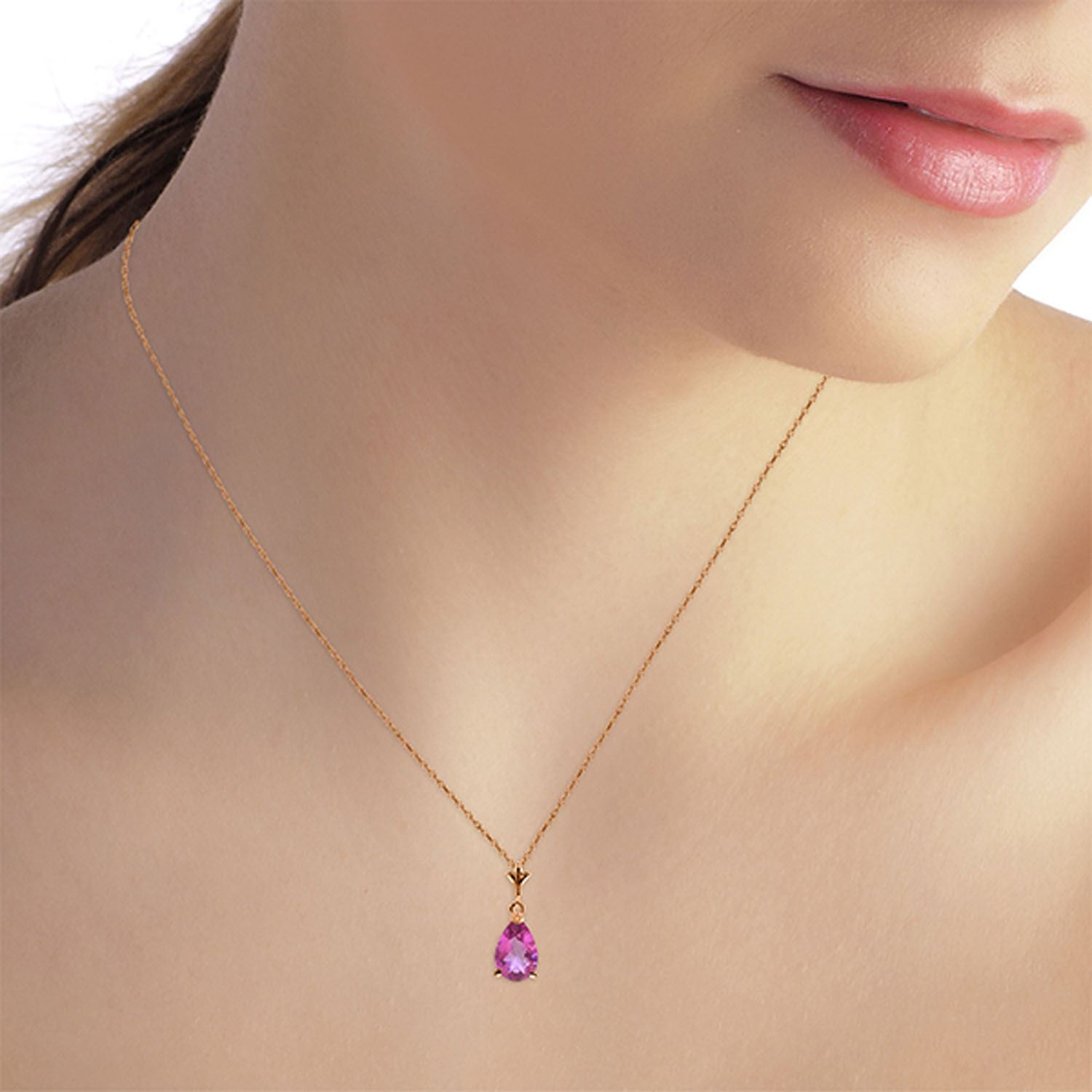 ALARRI 1.5 Carat 14K Solid Rose Gold Necklace Natural Rose Topaz with 22 Inch Chain Length