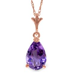ALARRI 1.5 CTW 14K Solid Rose Gold Pear Amethyst Necklace