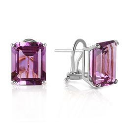 ALARRI 13 Carat 14K Solid White Gold Coming Years Amethyst Earrings