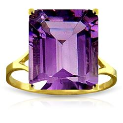 ALARRI 6.5 Carat 14K Solid Gold Ring Natural Octagon Purple Amethyst