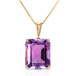 ALARRI 6.5 Carat 14K Solid Gold Necklace Octagon Purple Amethyst