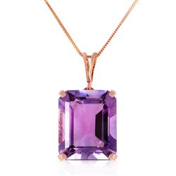 ALARRI 14K Solid Rose Gold Necklace w/ Octagon Purple Amethyst