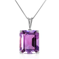 ALARRI 6.5 Carat 14K Solid White Gold Necklace Octagon Purple Amethyst
