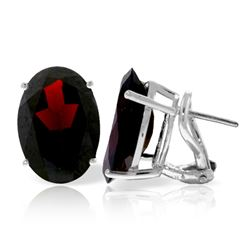 ALARRI 13 Carat 14K Solid White Gold French Clips Earrings Natural Garnet