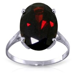 ALARRI 6 Carat 14K Solid White Gold Ring Natural Oval Garnet
