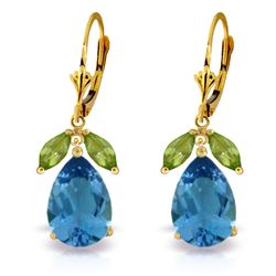 ALARRI 13 CTW 14K Solid Gold Still Waters Blue Topaz Peridot Earrings