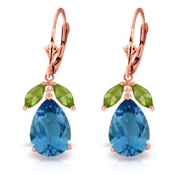 ALARRI 13 Carat 14K Solid Rose Gold Belle Blue Topaz Peridot Earrings