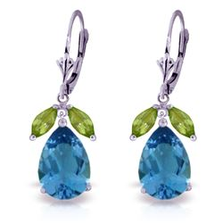 ALARRI 13 CTW 14K Solid White Gold Chagall Peridot Blue Topaz Earrings