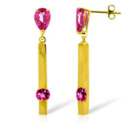 ALARRI 4.25 CTW 14K Solid Gold Bar Pink Topaz Drop Earrings