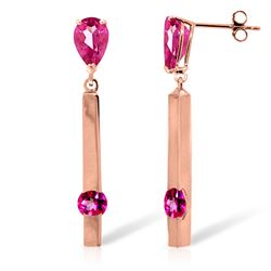 ALARRI 4.25 Carat 14K Pink Gold Bar Pink Topaz Earrings