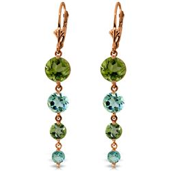 ALARRI 14K Solid Rose Gold Chandelier Earrings w/ Peridot & Blue Topaz