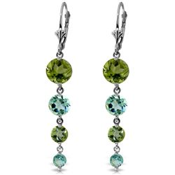 ALARRI 7.8 Carat 14K Solid White Gold Chandelier Earrings Peridot Blue Topaz