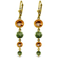 ALARRI 7.8 CTW 14K Solid Gold Chandelier Earrings Citrine Peridot