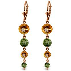ALARRI 14K Solid Rose Gold Chandelier Earrings w/ Citrines & Peridots