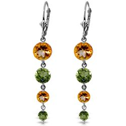 ALARRI 7.8 CTW 14K Solid White Gold Chandelier Earrings Citrine Peridot
