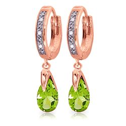ALARRI 2.53 Carat 14K Solid Rose Gold Diamond Pear Peridot Drop Hoops