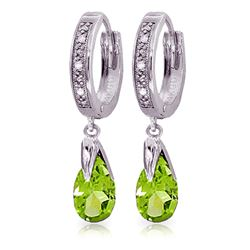ALARRI 2.53 CTW 14K Solid White Gold Can't Avoid Love Peridot Diamond Earrings