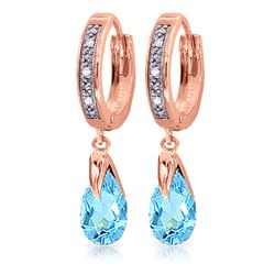 ALARRI 2.53 CTW 14K Solid Rose Gold Diamond Oval Blue Topaz Drop Hoops