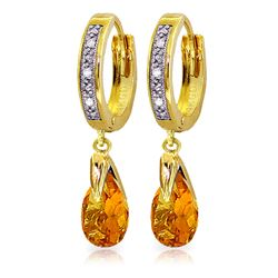 ALARRI 2.53 Carat 14K Solid Gold Hoop Earrings Diamond Citrine
