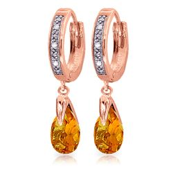 ALARRI 2.53 Carat 14K Solid Rose Gold Hoop Earrings Diamond Citrine