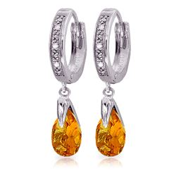 ALARRI 2.53 Carat 14K Solid White Gold Hoop Earrings Diamond Citrine