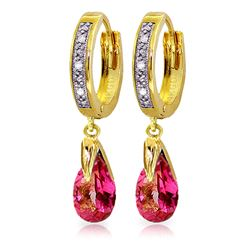 ALARRI 2.53 Carat 14K Solid Gold Hoop Earrings Diamond Pink Topaz