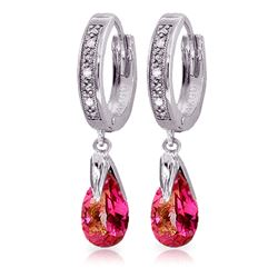 ALARRI 2.53 Carat 14K Solid White Gold Hoop Earrings Diamond Pink Topaz