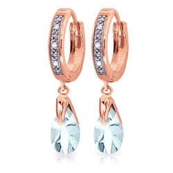 ALARRI 2.53 Carat 14K Solid Rose Gold Hoop Earrings Diamond Aquamarine