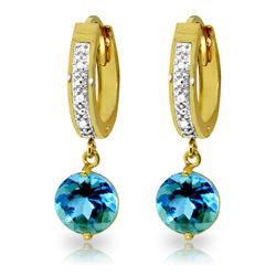 ALARRI 3.28 Carat 14K Solid Gold Organza Blue Topaz Diamond Earrings