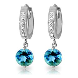 ALARRI 3.28 Carat 14K Solid White Gold Exchanges Blue Topaz Diamond Earrings