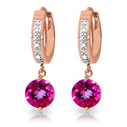ALARRI 3.28 Carat 14K Solid Rose Gold Diamond Round Pink Topaz Drop Hoops
