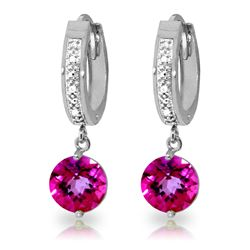 ALARRI 3.28 CTW 14K Solid White Gold Sense Of How Pink Topaz Diamond Earrings