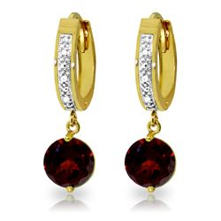 ALARRI 2.53 Carat 14K Solid Gold Hoop Earrings Diamond Garnet