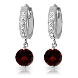 ALARRI 2.53 CTW 14K Solid White Gold Hoop Earrings Diamond Garnet